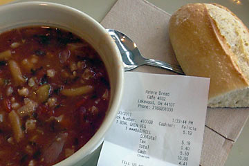 Bowl Of Soup And Baguette