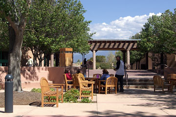 Students sitting in courtyard at SFCC